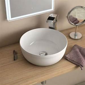 Vasque Ronde A Poser 30 Cm : vasque poser ronde blanche 39 cm c ramique pure fine ~ Premium-room.com Idées de Décoration