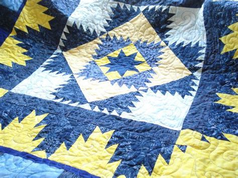 blue and yellow batik quilt home decor wall hanging blanket throw tablecover