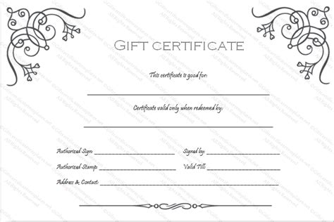 black and white gift certificate template free business gift certificate template