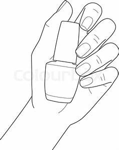 Female hand with manicure holding nail polish, vector ...