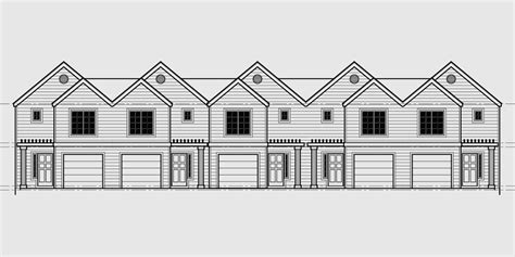 Duplex townhouse plan e2028 a1 1 town house plans family house plans house floor plans. Townhouse Plans, Row House Plans With Garage, Sloping Lot Plans