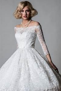 lorna 1064 off shoulder lace tea length short vintage 50s With retro 50 s wedding dresses