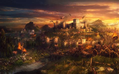 cinematic screens image dawn  fantasy kingdom