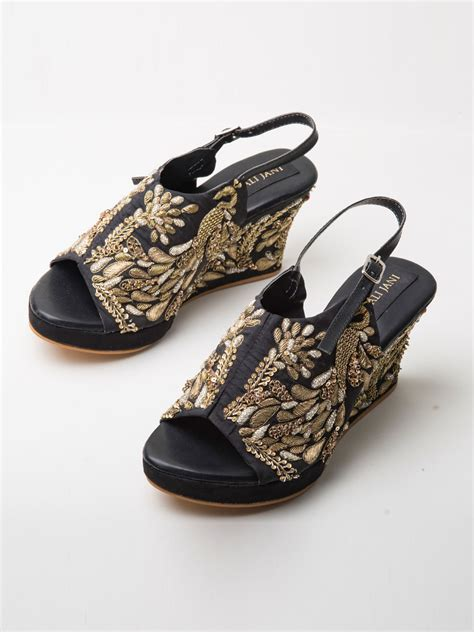 buy black silk peacock motif embroidered peep toe