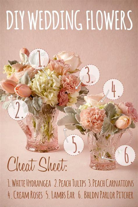 peach white diy wedding flower centerpiece inspired by