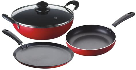 bajaj majesty duo  stick cookware set  pieces red dealwell