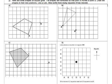 translation geometry position of shape ks2 year 5 6 worksheet only translation