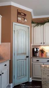 I was in love with my aqua pantry door for a hot minute for Kitchen colors with white cabinets with flying swallows wall art