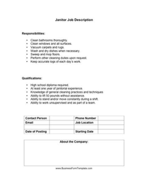 Janitorial Resume Description by Janitor Description Business Form Template Responsibilities