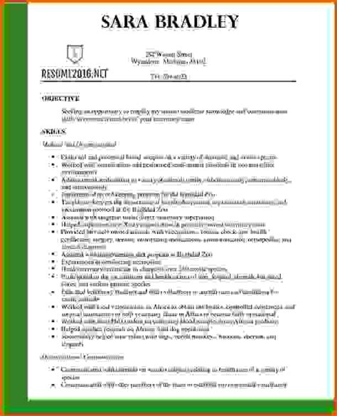 resume template veterinary asistant resumes sles 2016reference letters words reference
