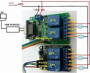 2019 Dc 9v 12v 4 Channel Rs232 Relay Module Serial Port
