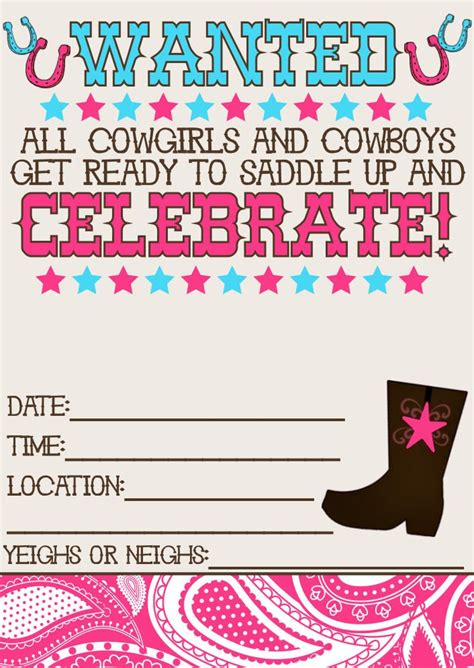 printable western birthday invitations