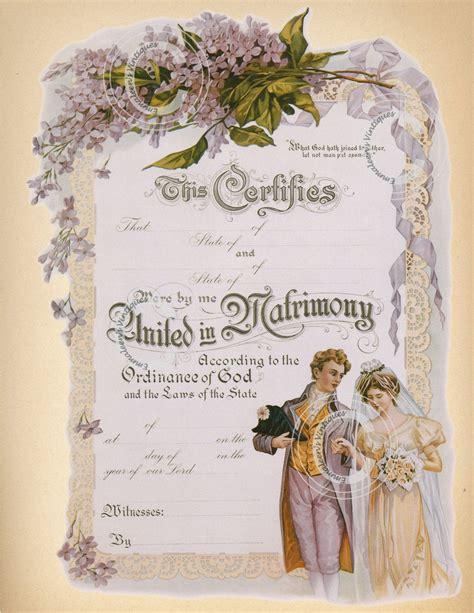 vintage marriage certificate digital image
