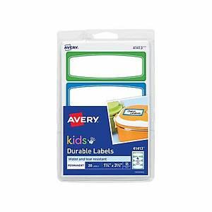 avery kids permanent waterproof labels 3 12 x 1 14 white With avery waterproof water bottle labels