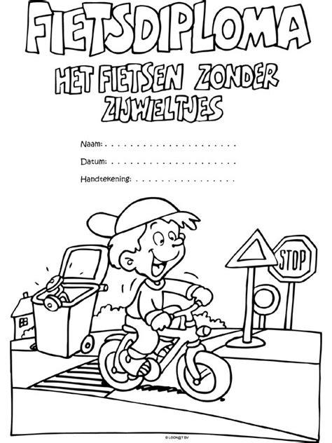 Kleurplaat Fietsdiploma by Fietsdiploma Zonder Zijwieltjes Zorg