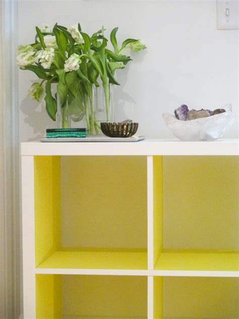 kallax ikea hack in neon yellow by panyl flax twine