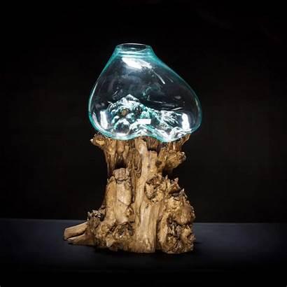 Glass Molten Bowl Extra Decor Blown Root