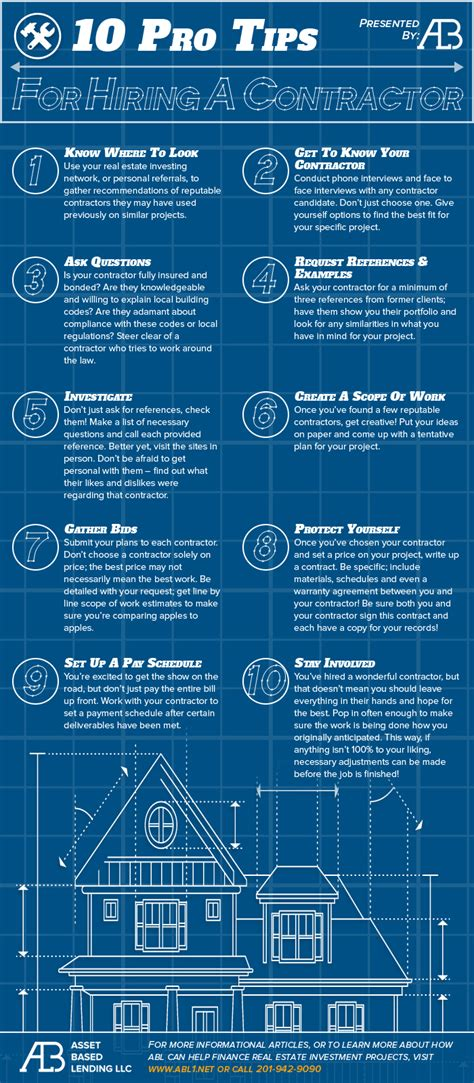 contractor tips infographic 10 pro tips for selecting a contractor abl blog