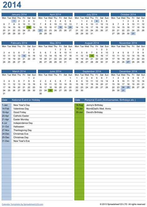 perpetual yearly calendar  birthdays  template