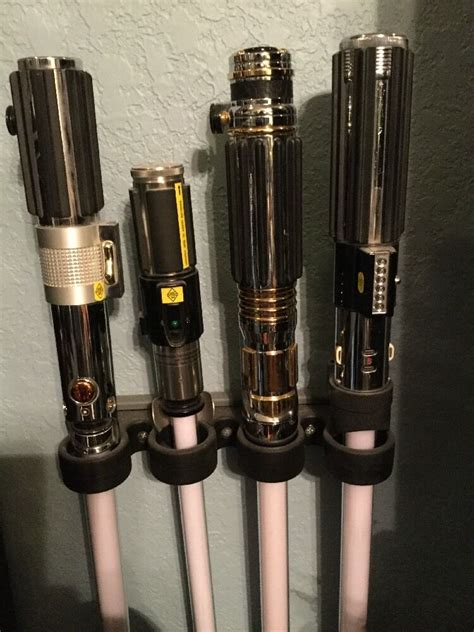 custom star wars lightsaber vertical wall mount master replicas hasbro force fx ebay