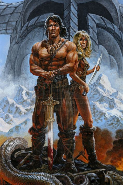 conan  barbarian  ron cobb hand drawn poster