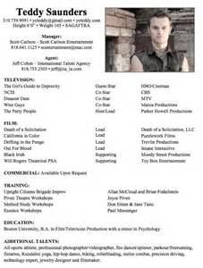 Acting Resume Template Backstage by Acting Resume Acting Resume Template Pdf Rtf Word Acting R 233 Sum 233 Template Pdf