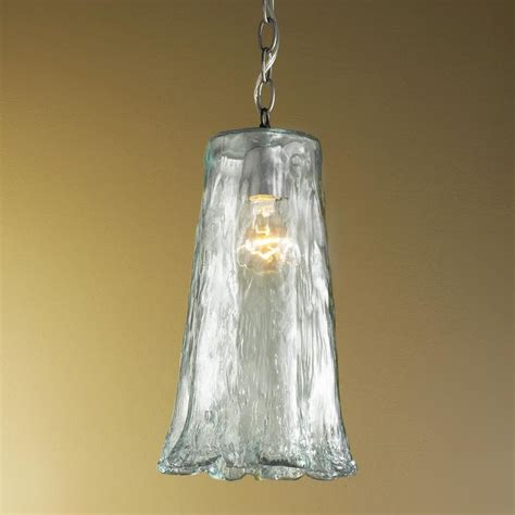 large ruffled recycled glass pendant light