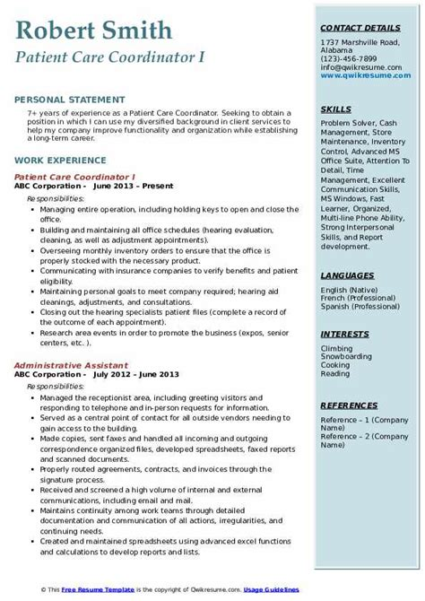 patient care coordinator resume samples qwikresume