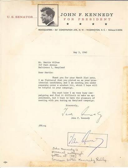 Kennedy Letter John Signed Person Signature Secretarial
