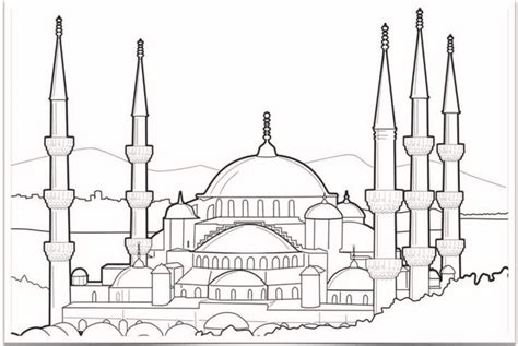 blue mosque drawing coloring page