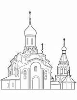 Coloring Orthodox Cathedral Pages Drawing Church Building Printable Sketch Template Buildings Categories sketch template