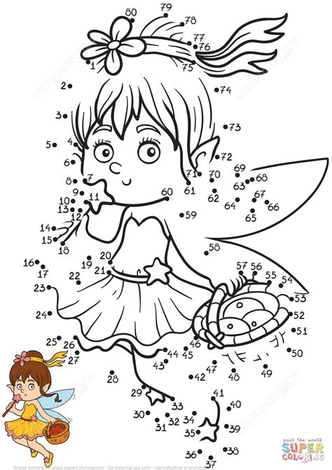 Little Fairy dot to dot Free Printable Coloring Pages in