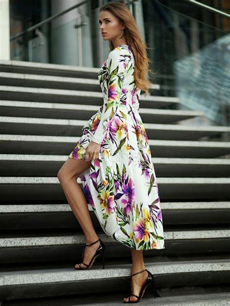 long sleeve floral dress womens high  dress milanoocom