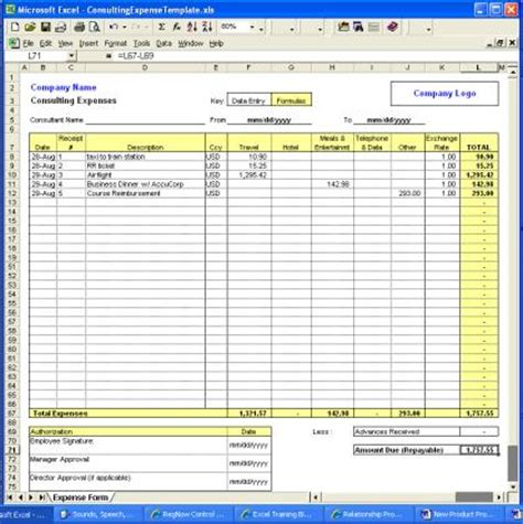 screenshot consulting expense excel template casino