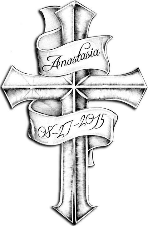 Custom order cross and scroll temporary tattoo | Products | Cross tattoo designs, Tattoos, P tattoo