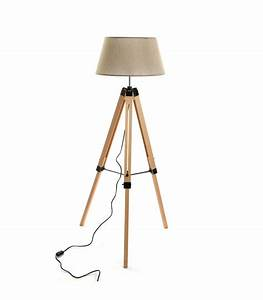 Trépied En Bois : lampadaire tr pied en bois et abat jour en toile beige ~ Teatrodelosmanantiales.com Idées de Décoration