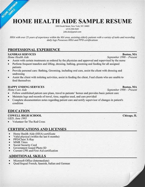 home health aide resume  httpresumecompanion