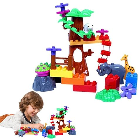 zoo toy animal toys deals cheap blocks dazzling playset operated sounds includes kingdom battery trees makes animals build flowers own