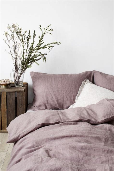 Eu Dark Lavender Stone Washed Linen Bed Set  Bed By Linen