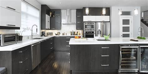 cuisine grise plan de travail bois comptoirs armoires cuisines