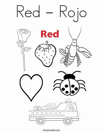 Coloring Preschool Rojo Colors Twistynoodle Worksheet Worksheets