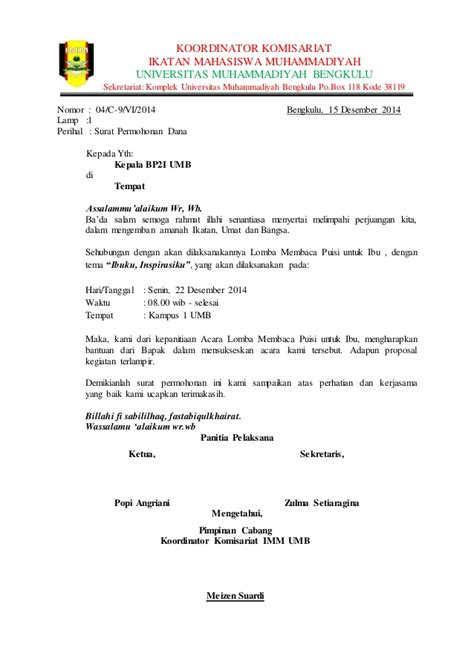 Contoh Format Surat Untuk Meminta Sponsor by Surat Permohonan