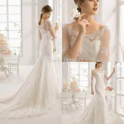 a line wedding dresses with sleeves 2015 beautiful a line designer wedding dress with sheer half sleeves floor length chapel