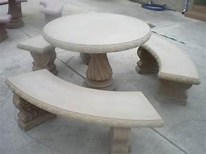 Concrete cement tan colored round patio picnic table with for Concrete patio table set