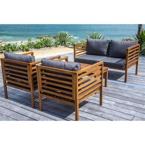 canape de jardin en bois majorque salon de jardin 4 places en bois acacia marron