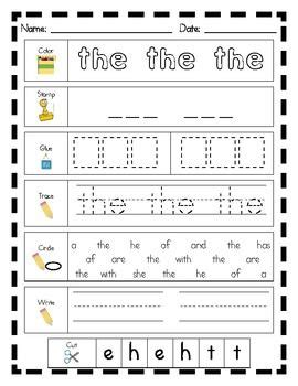 literacy center word work printables fry s list of sight