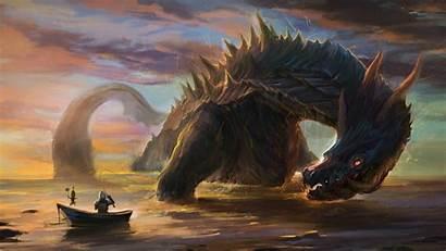 Dragon Caught Fantasy Wallpapers Dragons Monster Sea