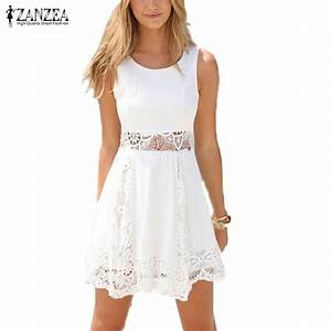 Zanzea 2017 Summer Dress Women Casual Solid Lace Strapless ...