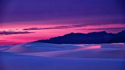 Desert Sunset Sky Landscape Sand Mountains Pink