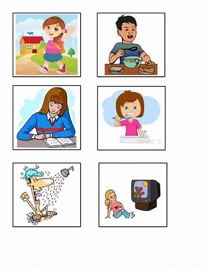 Daily Routines Matching Worksheets Simple Tense